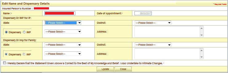 how to change esic dispensary address