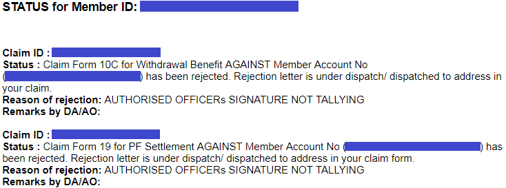 Pf claim rejected due to authorized officers signature not tallying epf claim status when pf claim rejected due to authorized officers signature not tallying spiritdancerdesigns Image collections